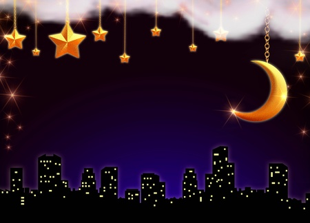 skyscape with stars and moon over silhouette of the town photo