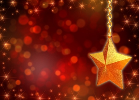 3d golden star with chains over red background with lights photo