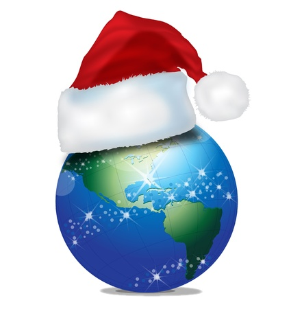 blue world globe with christmas red hat and lights photo