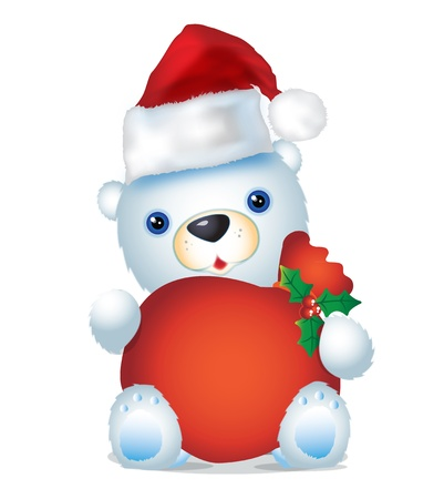 whelp: white christmas bear with sack and red hat sitting