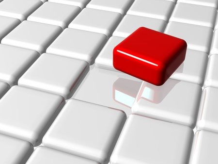main group: arranged 3d white-grey cubes with one red on top of the group