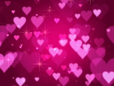 pink hearts and lights over violet background with feather center Stock Photo - 11919745