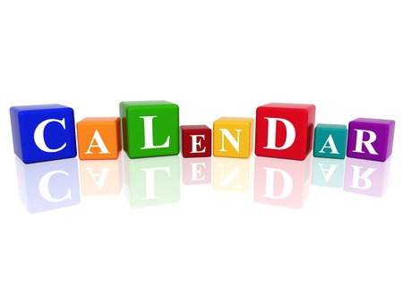 3d colourful cubes with letters makes calendar photo