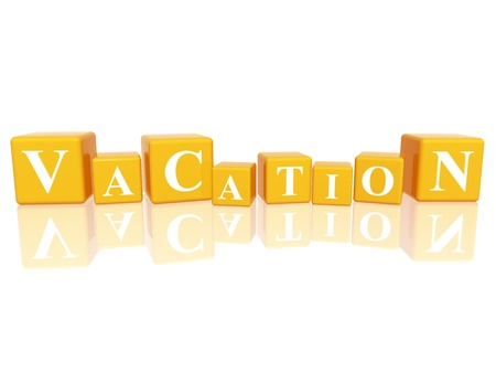 event organizer: 3d yellow cubes with letters makes vacation