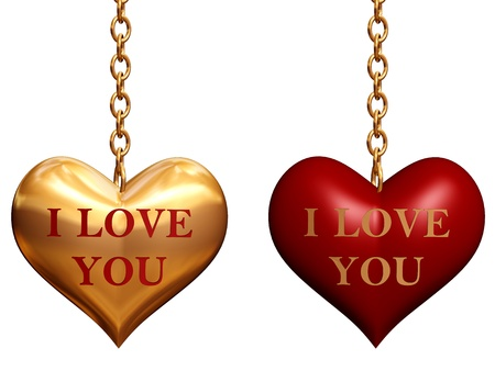 two golden and red 3d hearts with chains with text - I love you, isolated photo