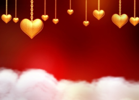3d golden hearts with chains, stars and lights over red background with clouds photo