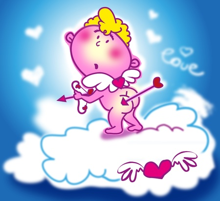 anniversary sexy: cupid with bow and arrows and hearts over clouds