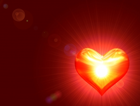 shining golden heart with rays of light over red background photo