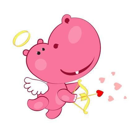 hippopotamus: hipopótamo Cupido con arco y flechas y corazones