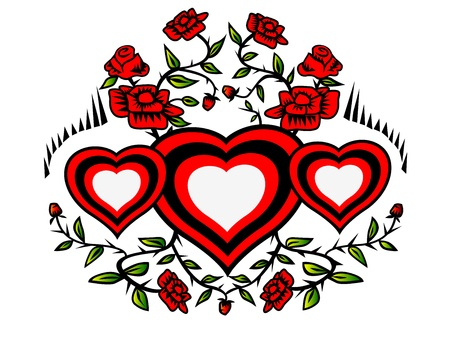 wreath of hearts and red roses with green leaves photo
