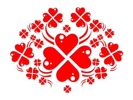 fourleaved: wreath of red hearts like four-leaved clovers Stock Photo