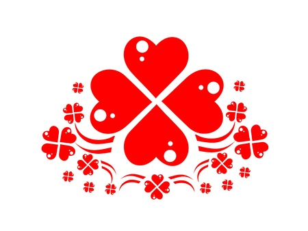 wreath of red hearts like four-leaved clovers Stock Photo - 12052620