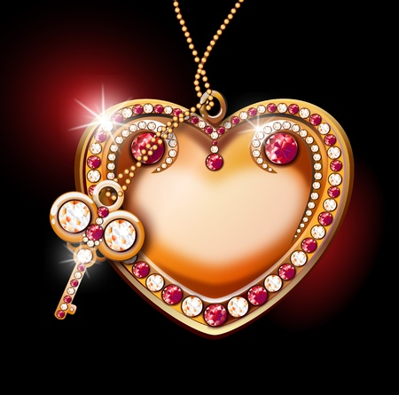 inlaid golden heart with shining diamonds and rubies with key on black background Stock Photo