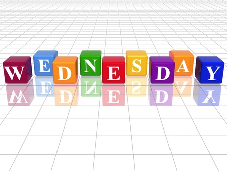3d coloured cubes with letters makes wednesday photo
