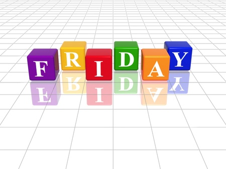 weekday: 3d coloured cubes with letters makes friday Stock Photo