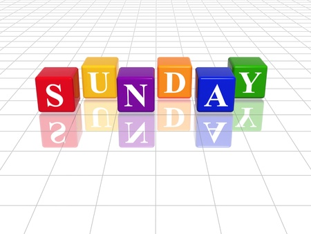 3d coloured cubes with letters makes sunday photo