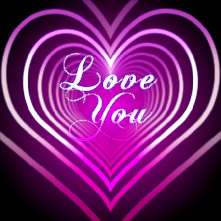 shining pink hearts with text love you Stock Photo - 12052628