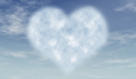 heart like cloud in blue azure sky photo
