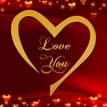 text love you in golden heart with shining hearts over red background photo