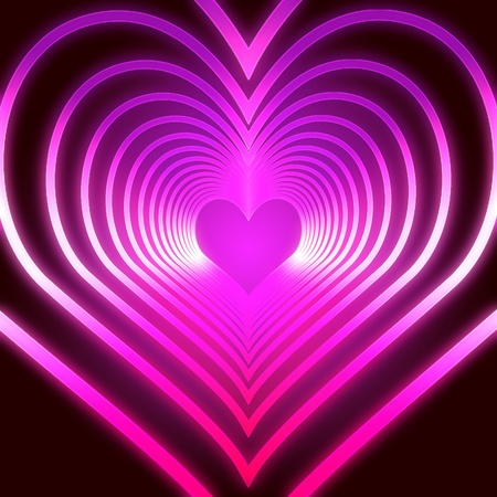 many shining pink hearts one get into the next one photo