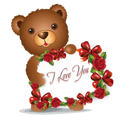 brown Teddy bear with greeting card with text I love you photo