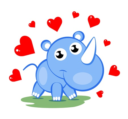 whelp: illustration of cute blue rhinoceros with red hearts Stock Photo