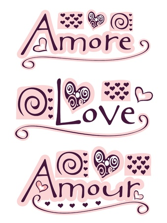 amore: text amore, love and amour with hearts and ornaments