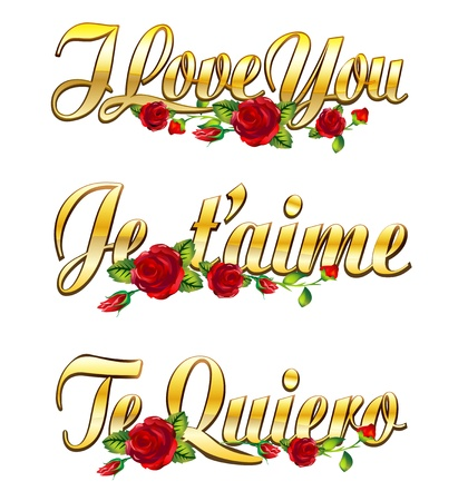 text I love you, Je taime and Te quiero with red roses