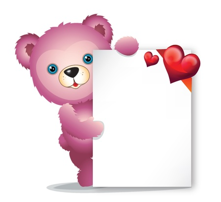 pink Teddy bear with greeting card with red hearts photo