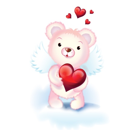 cute pink cupid bear with wings and red hearts photo