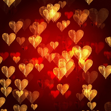 golden red hearts over red background with feather center photo