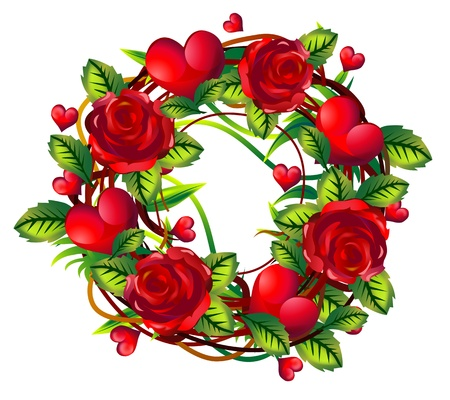 wreath of red roses with green leaves and hearts photo
