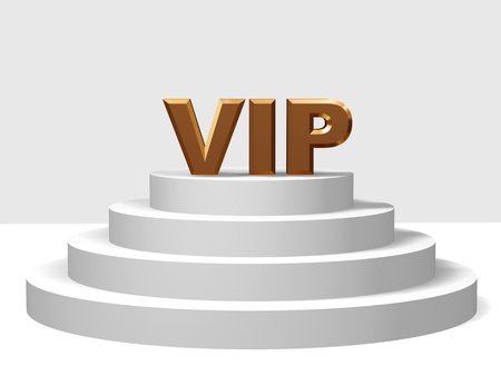 notability: 3d golden letters VIP on a white pedestal with four steps