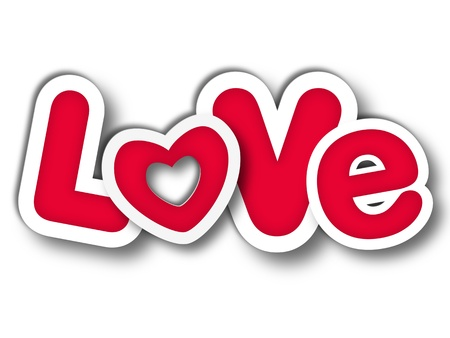 3d red letters with text - Love, isolated with shadow photo