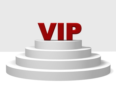 notability: 3d red letters VIP on a white pedestal with four steps