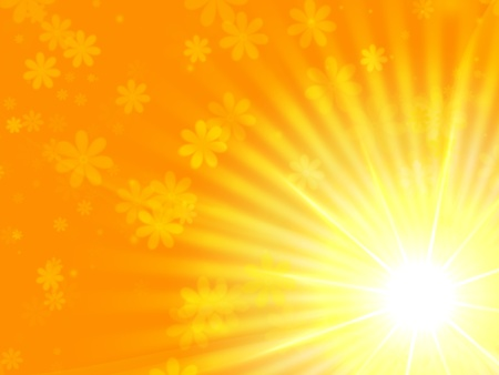 radiant light: sun light with flowers over yellow background Stock Photo