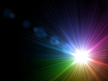 sunrays: abstract lens flare light rainbow over black background