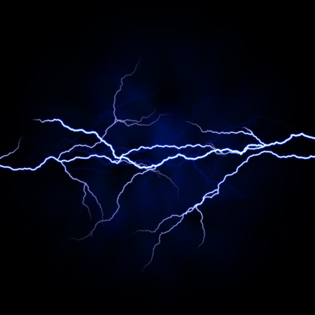 discharge: electrical white blue lightnings over dark background Stock Photo