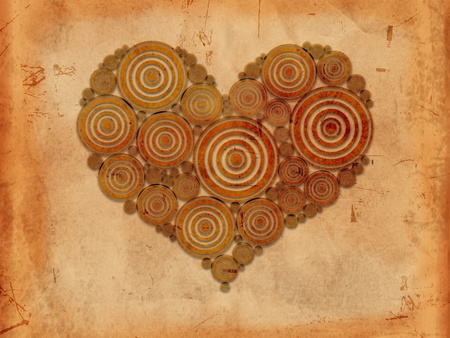 old paper background with heart of circles like tree rings photo