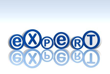 perito: 3d c�rculos azules blancas con expertos de texto Foto de archivo