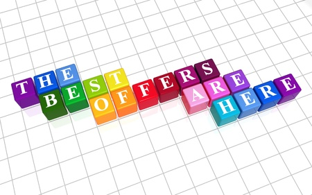 3d color cubes with white letters, text - the best offers are here Stock Photo - 12209730