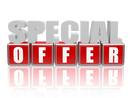 best offer: 3d color letters and cubes with text - special offer Stock Photo
