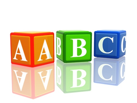 abc blocks: 3d colorful cubes with letters abc with reflection