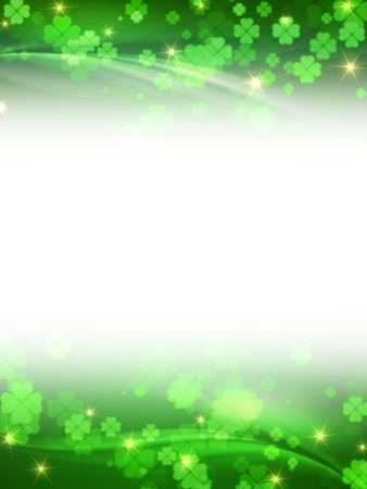 fourleaved: green frame with flowers clovers and stars, spring motif