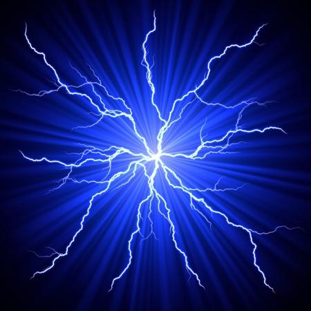 rayo electrico: el�ctrica, blanco, azul rel�mpagos bola de fuego sobre fondo oscuro
