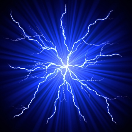 electrical white blue lightnings fireball over dark background photo