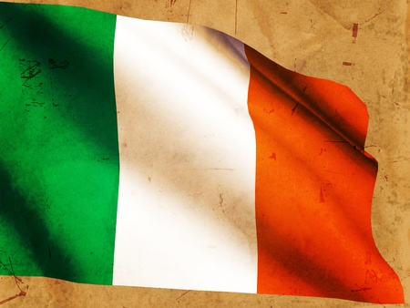 Irish national flag over old paper background photo