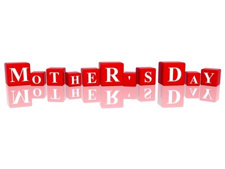 calendrier jour: 3d cubes rouges avec des lettres rend la f�te des m�res Banque d'images