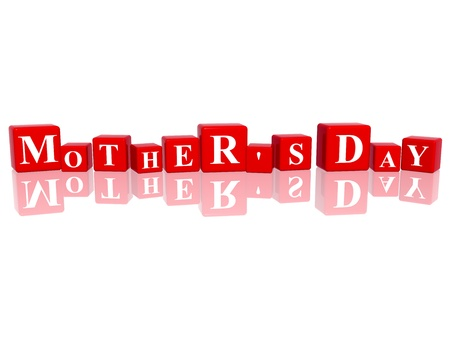 days of week: 3d red cubes with letters makes mothers day Stock Photo