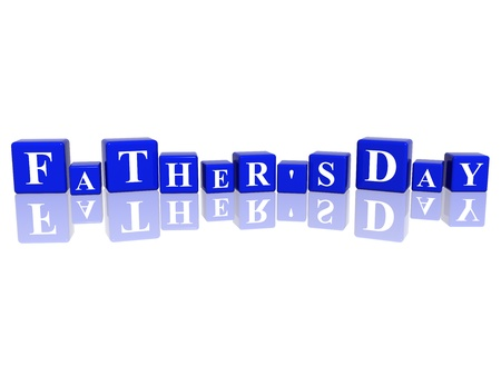 3d blue cubes with letters makes fathers day Stock Photo